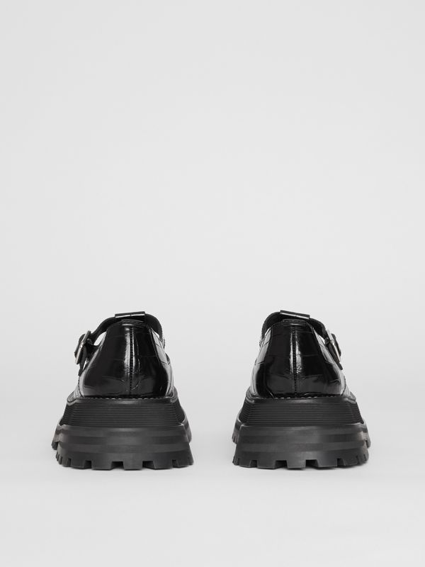 Embossed Leather T-bar Shoes in Black - Women | Burberry Australia - cell image 3