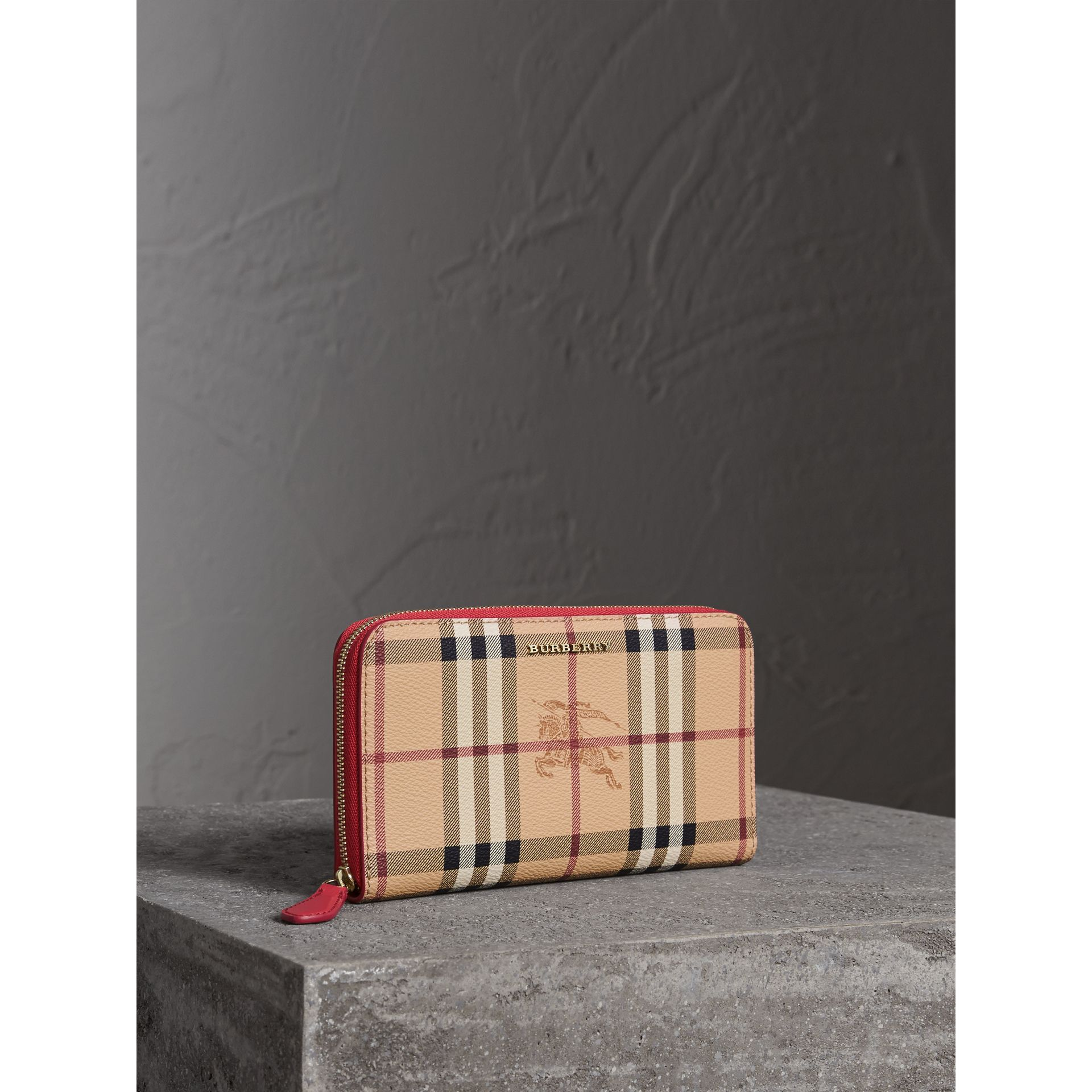 Haymarket Check and Leather Ziparound Wallet in Coral Red - Women | Burberry - gallery image 0