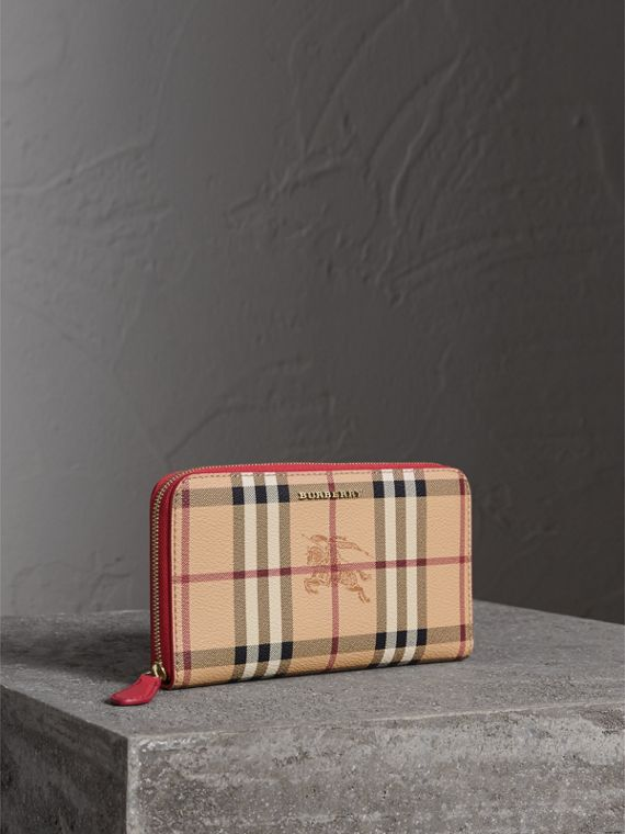 Haymarket Check and Leather Ziparound Wallet in Coral Red