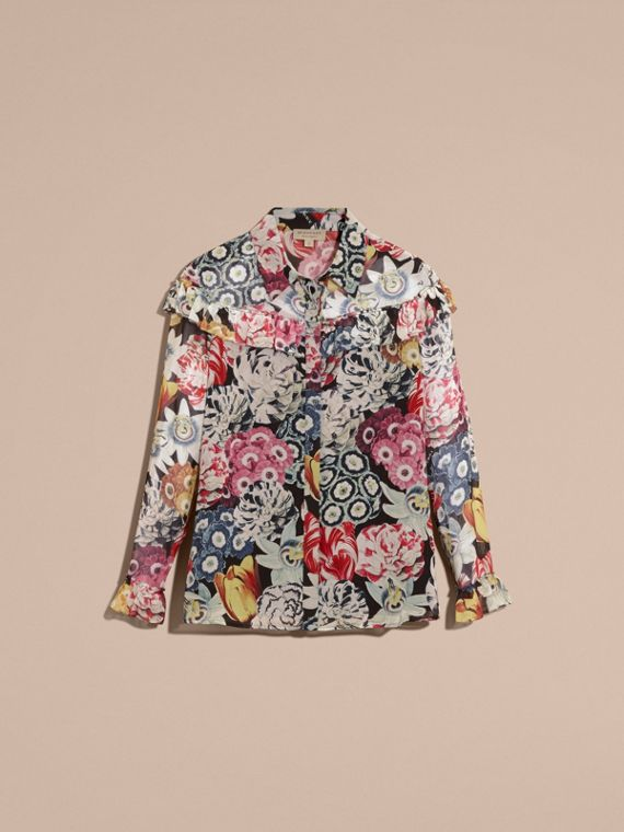 Black Floral Silk Georgette Frill Detail Shirt - cell image 3