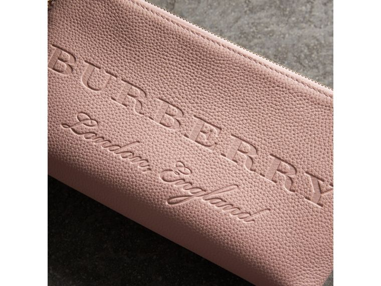 Embossed Leather Clutch Bag in Pale Ash Rose - Women | Burberry - cell image 1