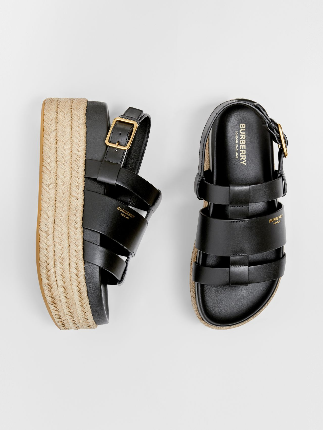 Logo Embossed Leather and Jute Sandals in Black