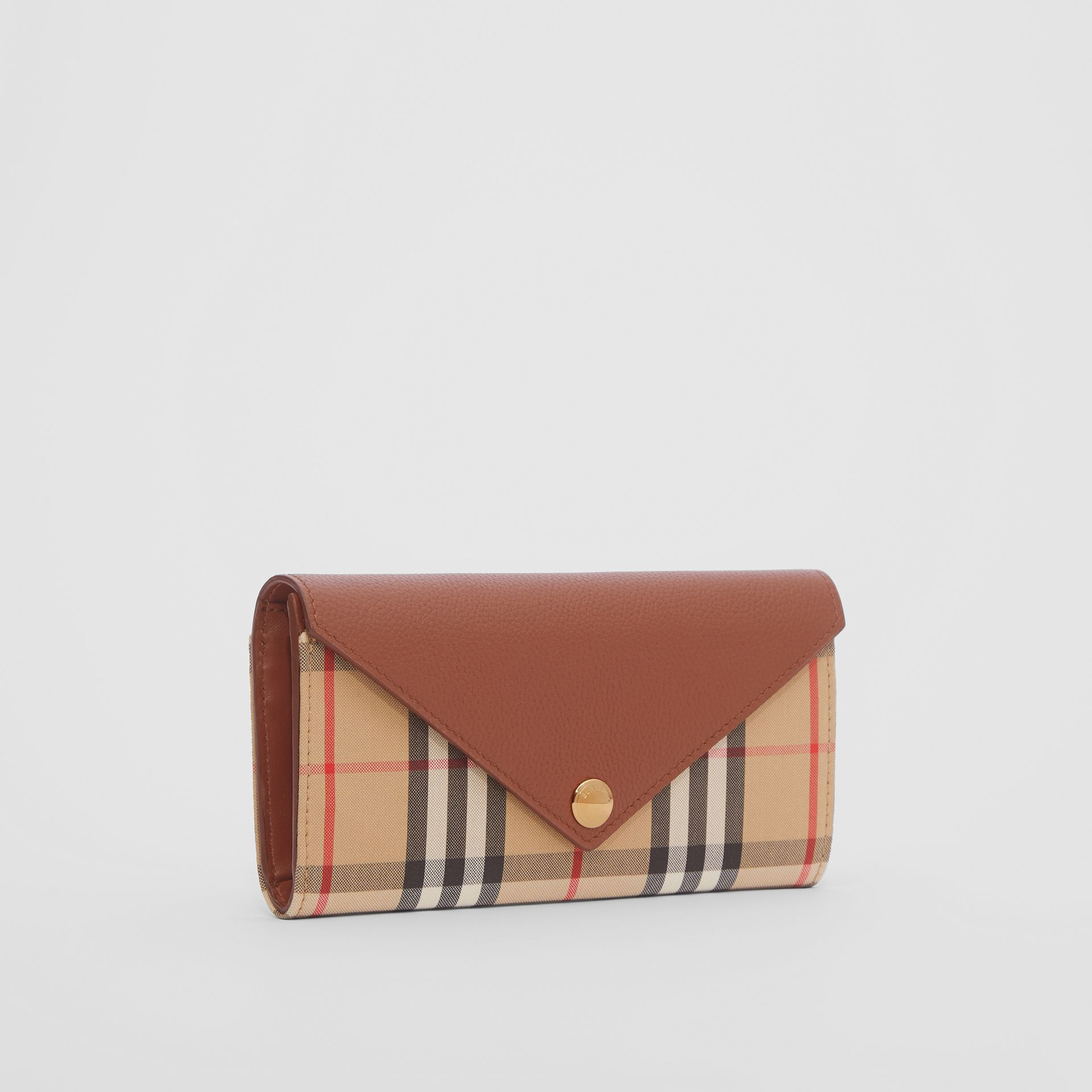 Vintage Check and Leather Continental Wallet in Tan - Women | Burberry United Kingdom - gallery image 3