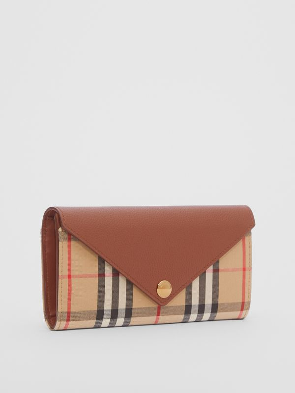 Vintage Check and Leather Continental Wallet in Tan - Women | Burberry United Kingdom - cell image 3
