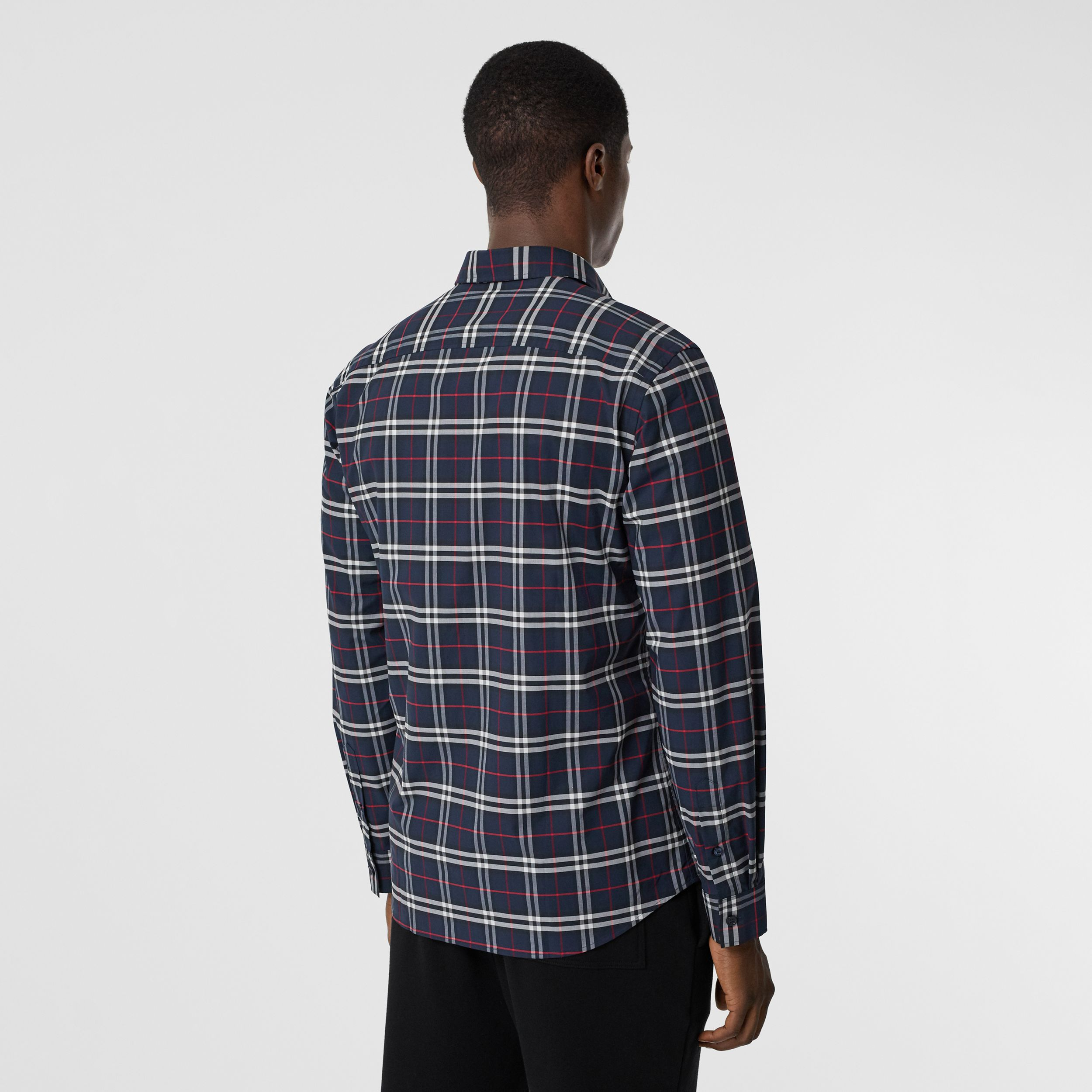 Small Scale Check Stretch Cotton Shirt in Navy - Men | Burberry - 3