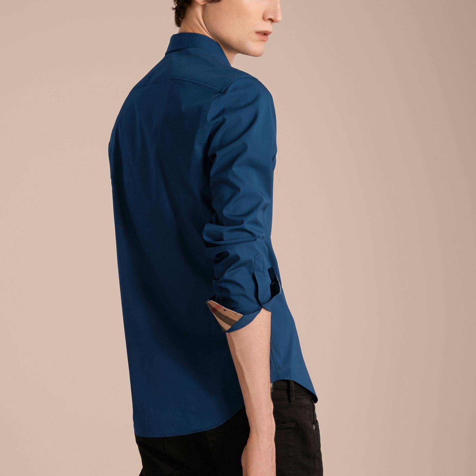 Check Detail Stretch Cotton Poplin Shirt in Deep Teal Blue - Men | Burberry - gallery image 2