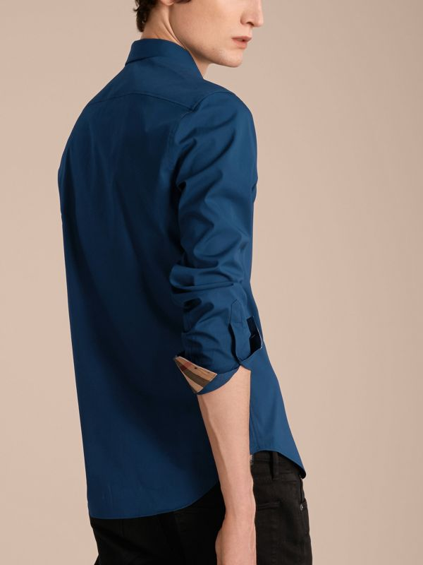 Check Detail Stretch Cotton Poplin Shirt in Deep Teal Blue - Men | Burberry - cell image 2