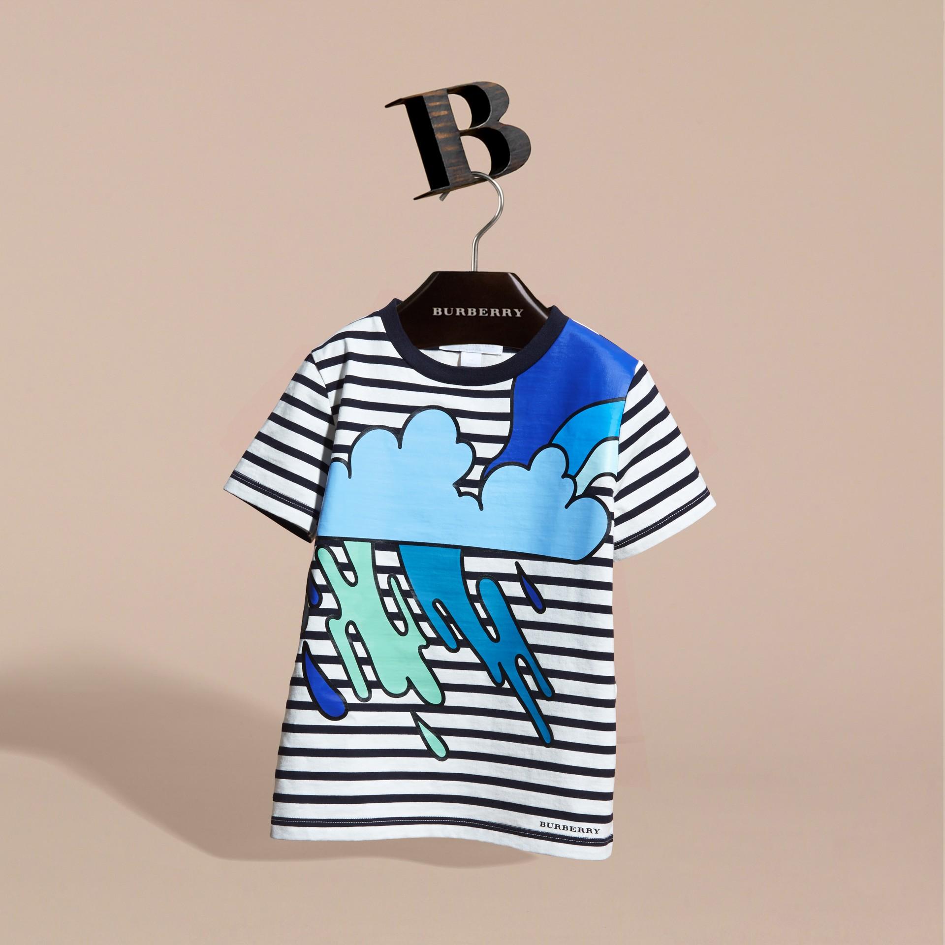 Striped Storm Cloud Print Cotton T-shirt - gallery image 3