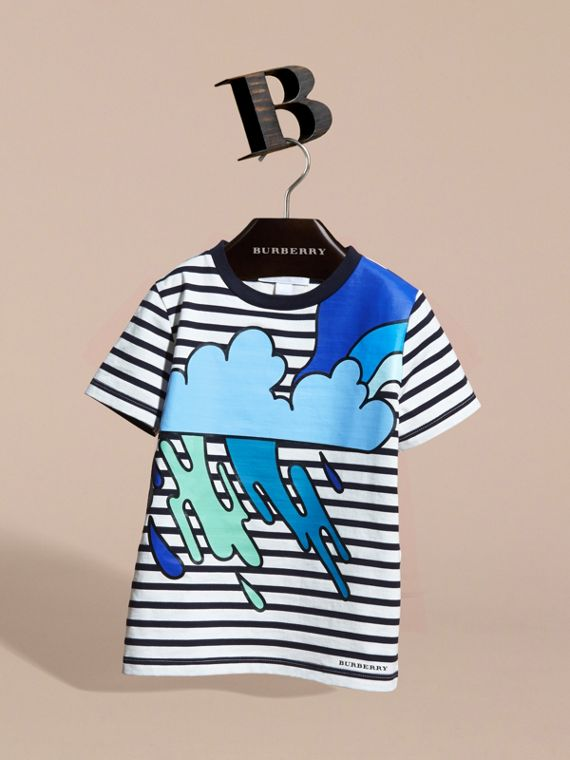 Striped Storm Cloud Print Cotton T-shirt - cell image 2