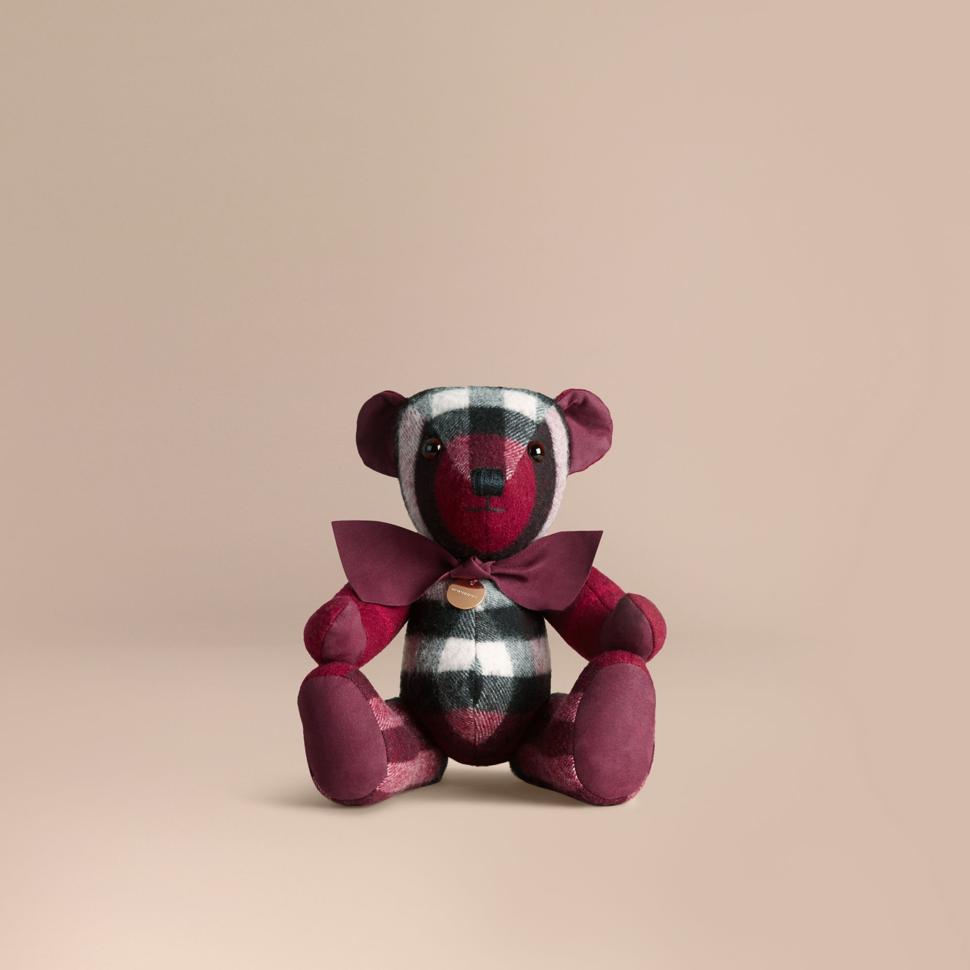 Thomas Bear in Check Cashmere in Plum | Burberry - gallery image 0
