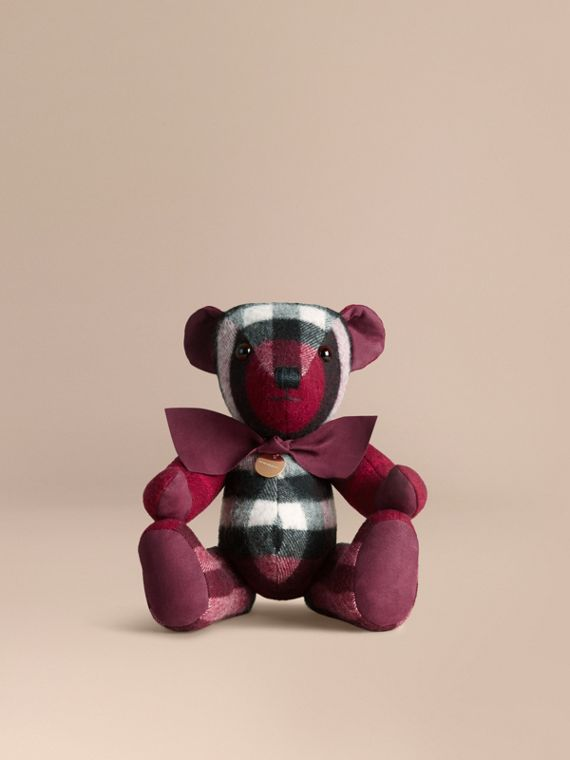 Thomas Bear in Check Cashmere in Plum | Burberry Singapore