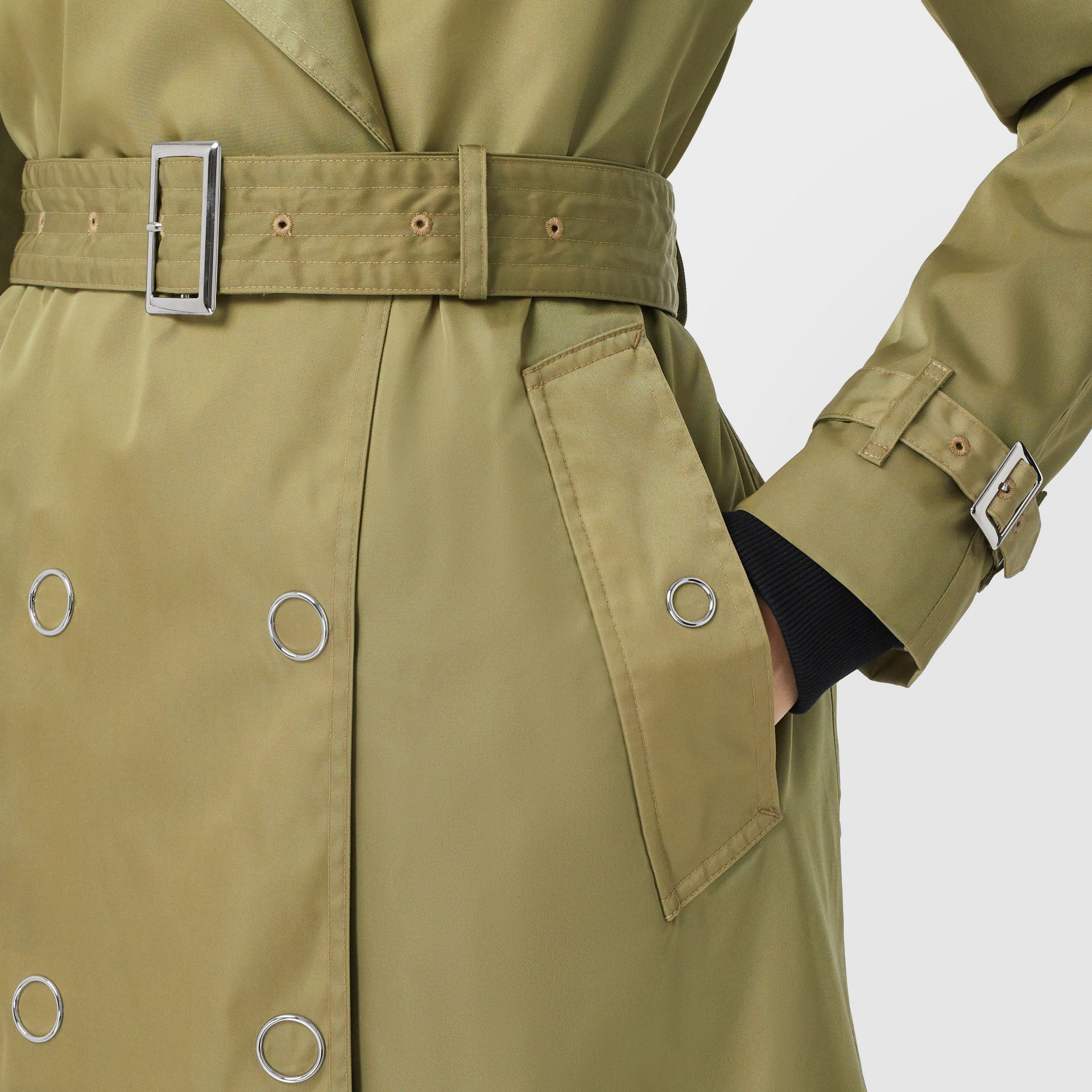 Press-stud Detail ECONYL® Trench Coat in Rich Olive - Women | Burberry - gallery image 5