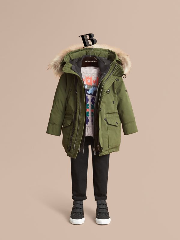 Fur-trimmed Down-filled Hooded Puffer Coat in Sage   Burberry - cell image 2