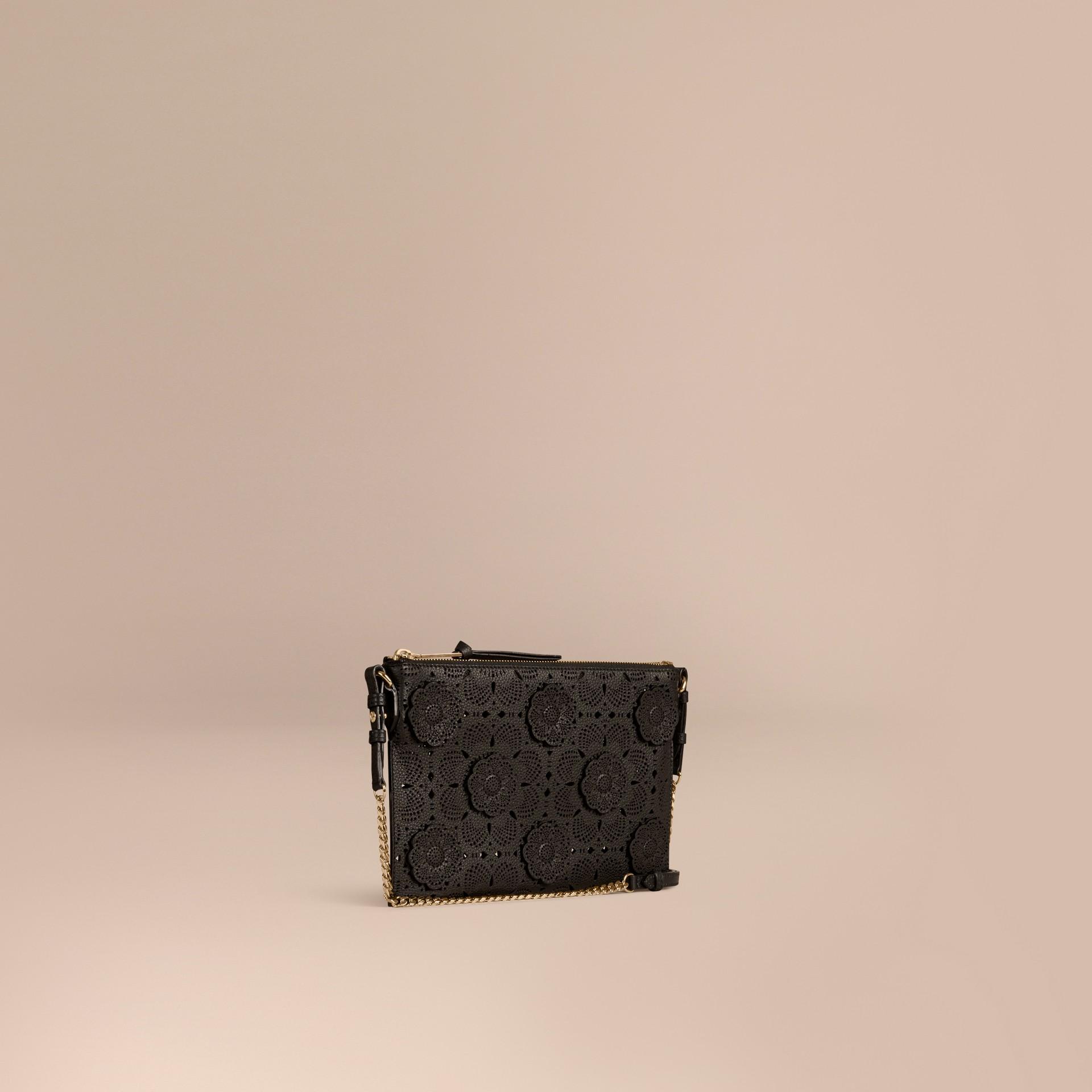 Black Laser-cut Floral Lace Leather Clutch Bag Black - gallery image 1