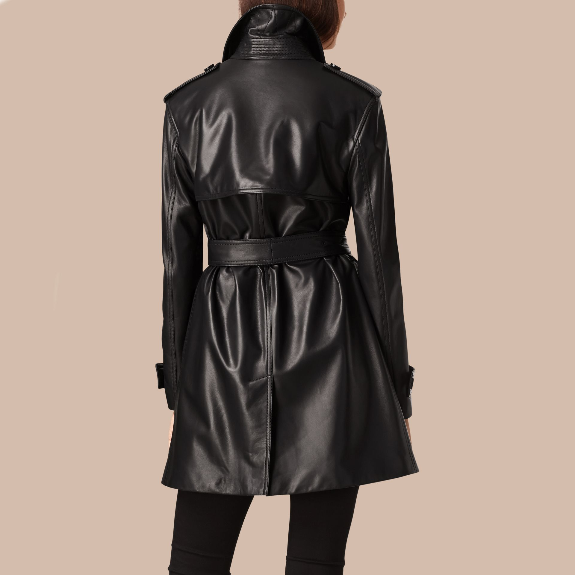 Black Oversize Wrap Lambskin Trench Coat - gallery image 3