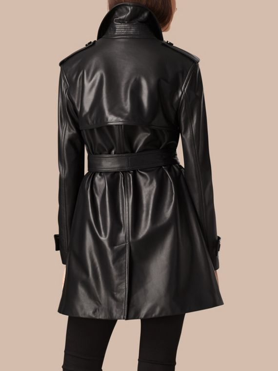 Black Oversize Wrap Lambskin Trench Coat - cell image 2