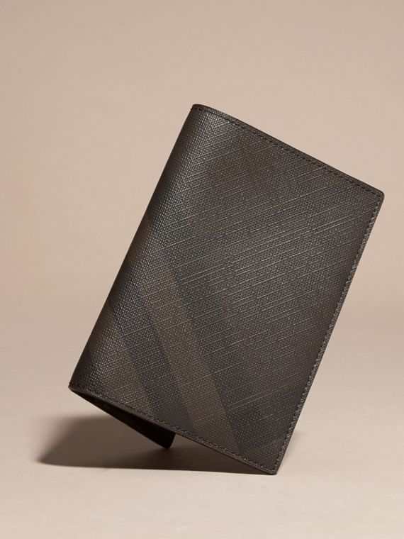 London Check and Leather Passport Holder in Chocolate/black - Men | Burberry - cell image 2