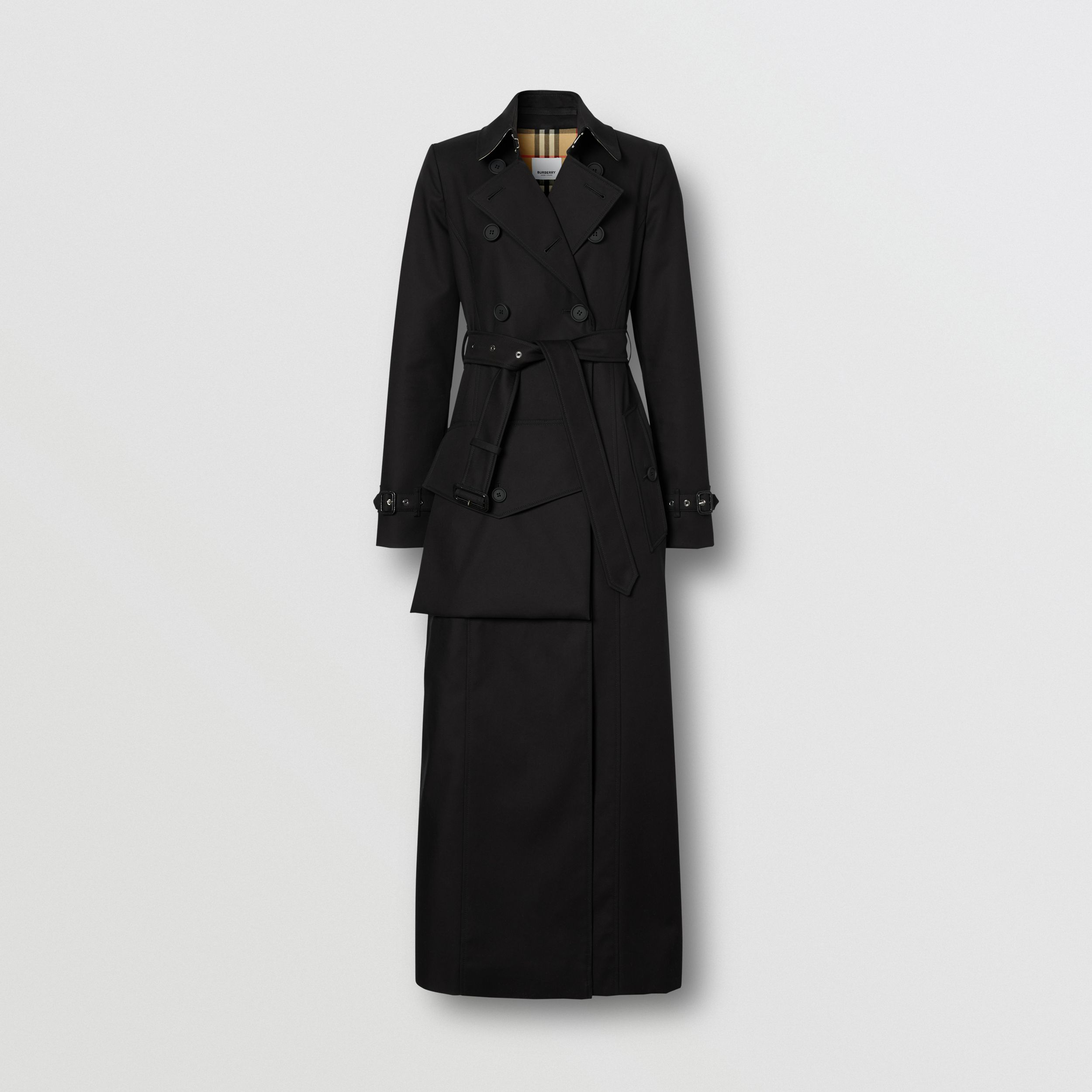 Pocket Detail Cotton Gabardine Trench Coat in Black - Women | Burberry - 4