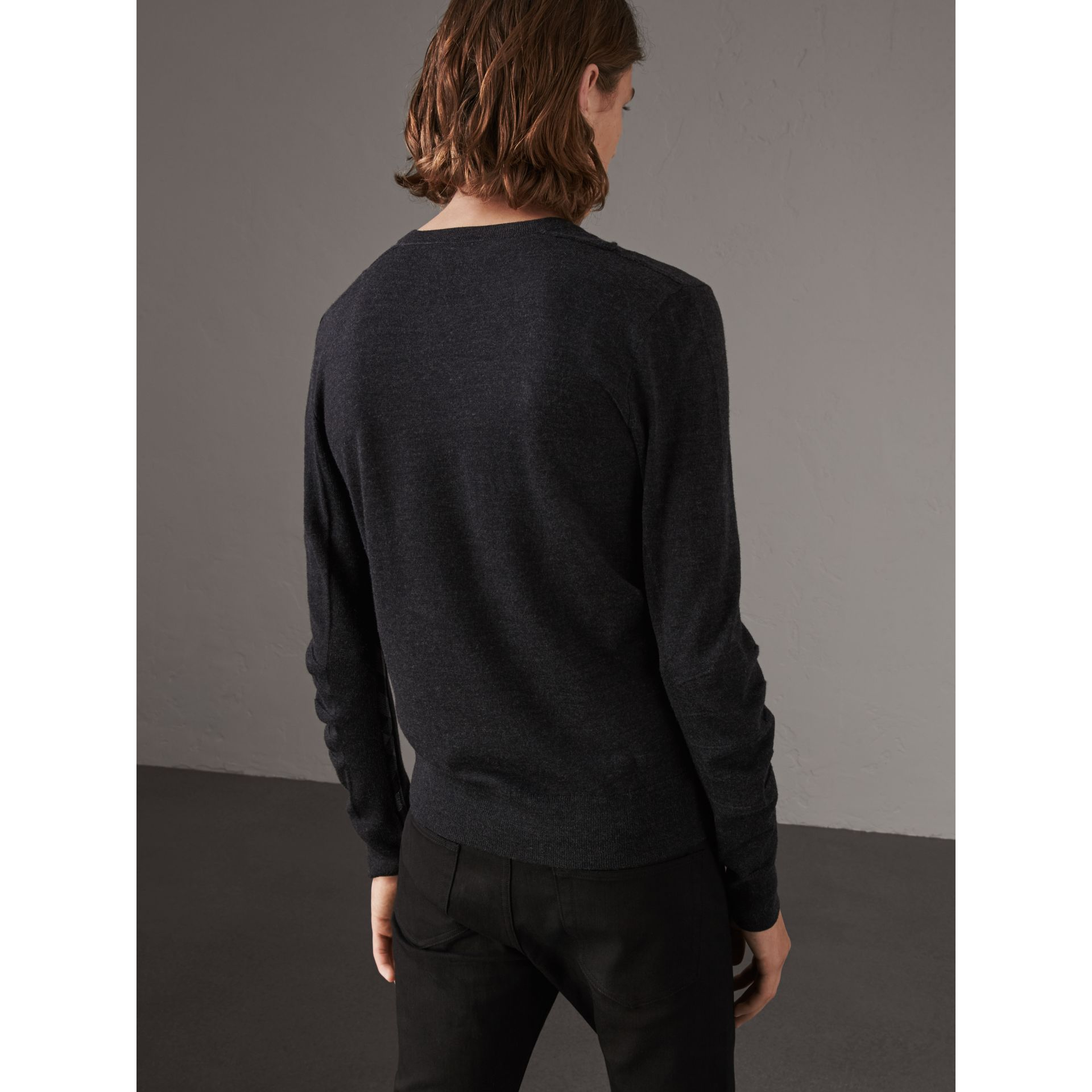 Check Detail Merino Wool V-neck Sweater in Charcoal - Men | Burberry Singapore - gallery image 2
