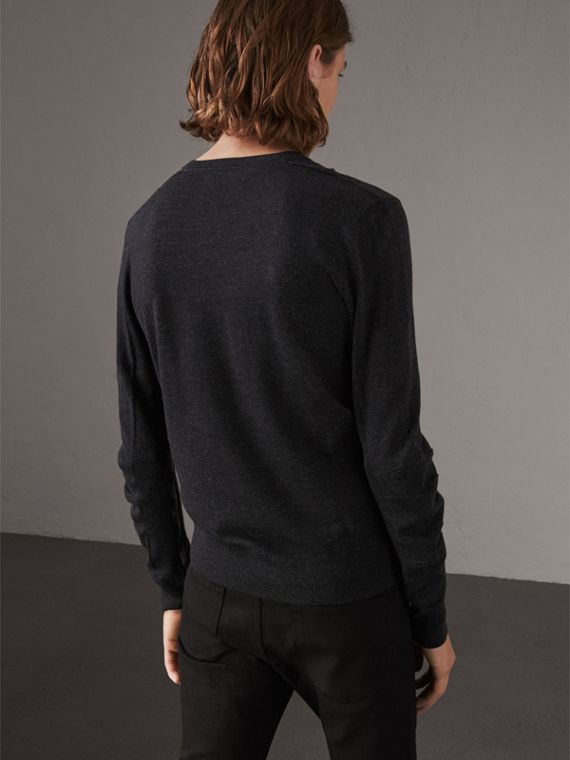 Check Detail Merino Wool V-neck Sweater in Charcoal - Men | Burberry Singapore - cell image 2