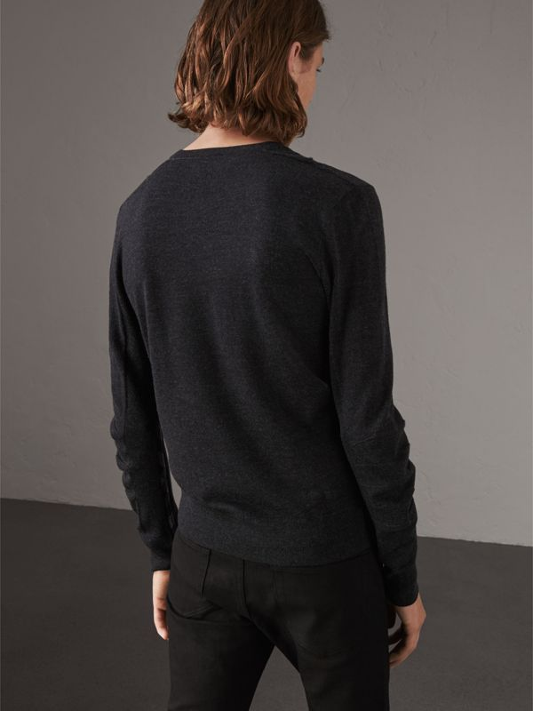 Check Detail Merino Wool V-neck Sweater in Charcoal - Men | Burberry - cell image 2