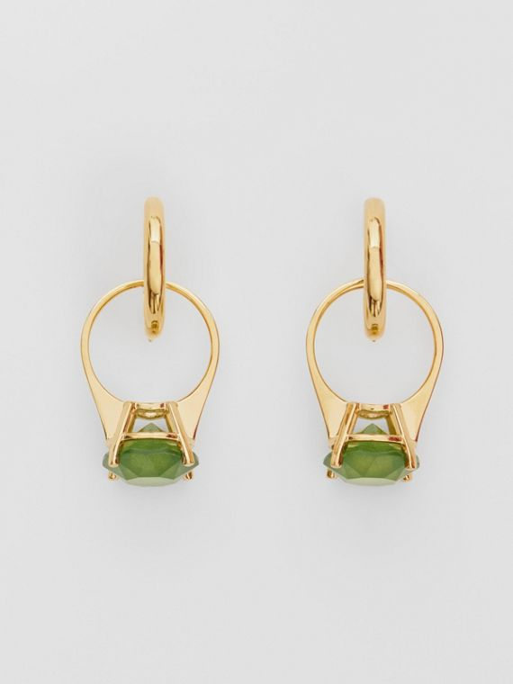 Crystal Ring Detail Gold-plated Hoop Earrings in Light Gold/jade