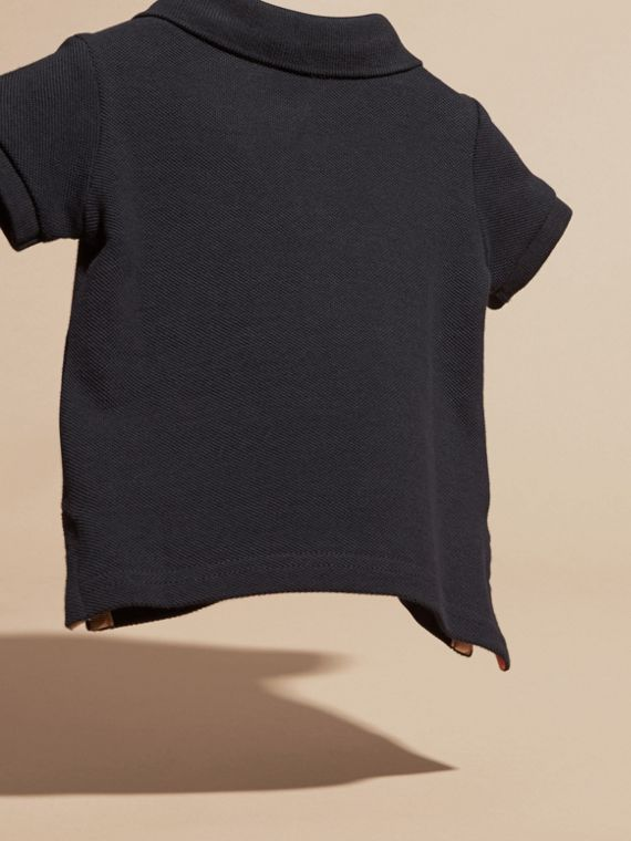 Cotton Piqué Polo Shirt in True Navy | Burberry - cell image 3