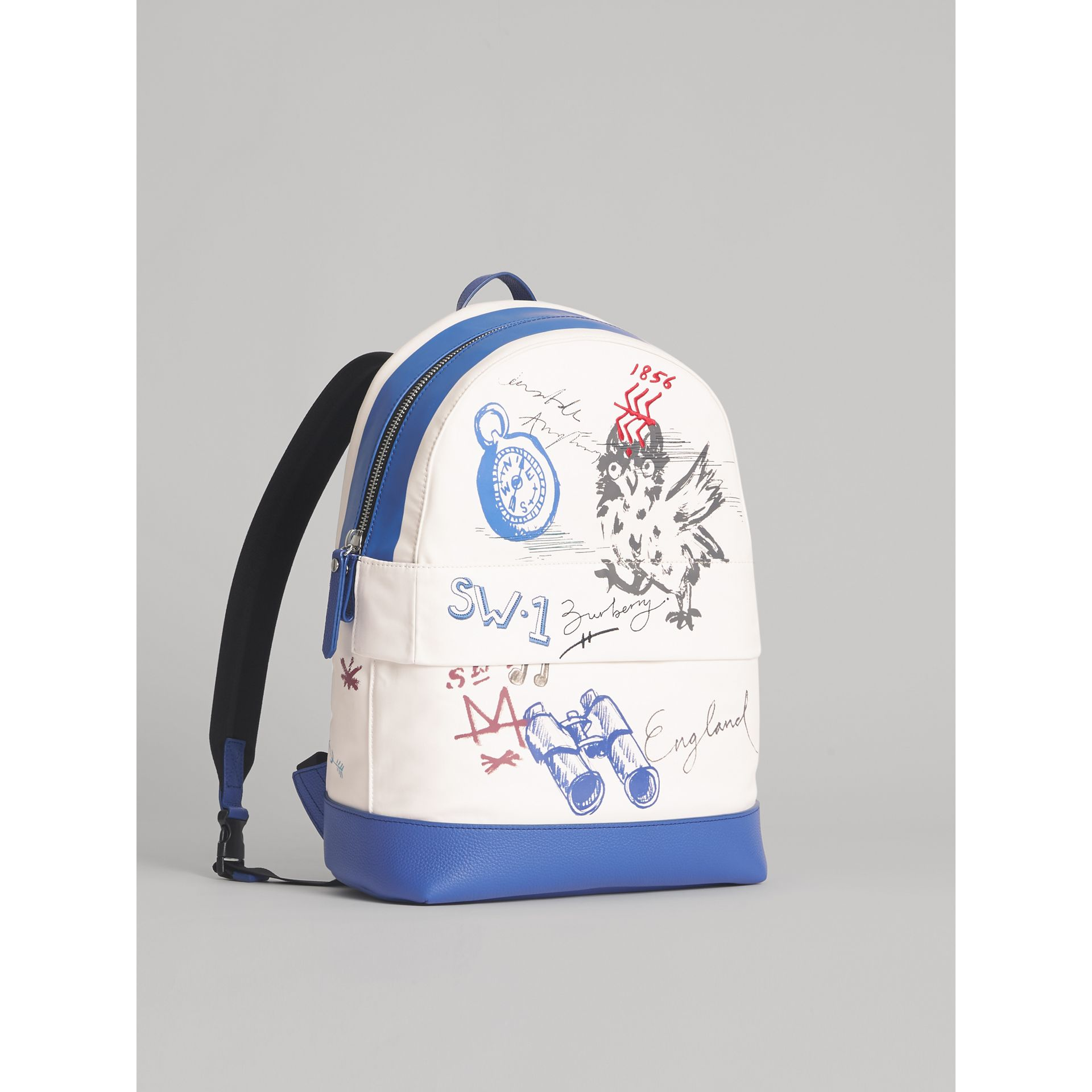 Adventure Print Cotton Canvas Backpack in Blue | Burberry - gallery image 4
