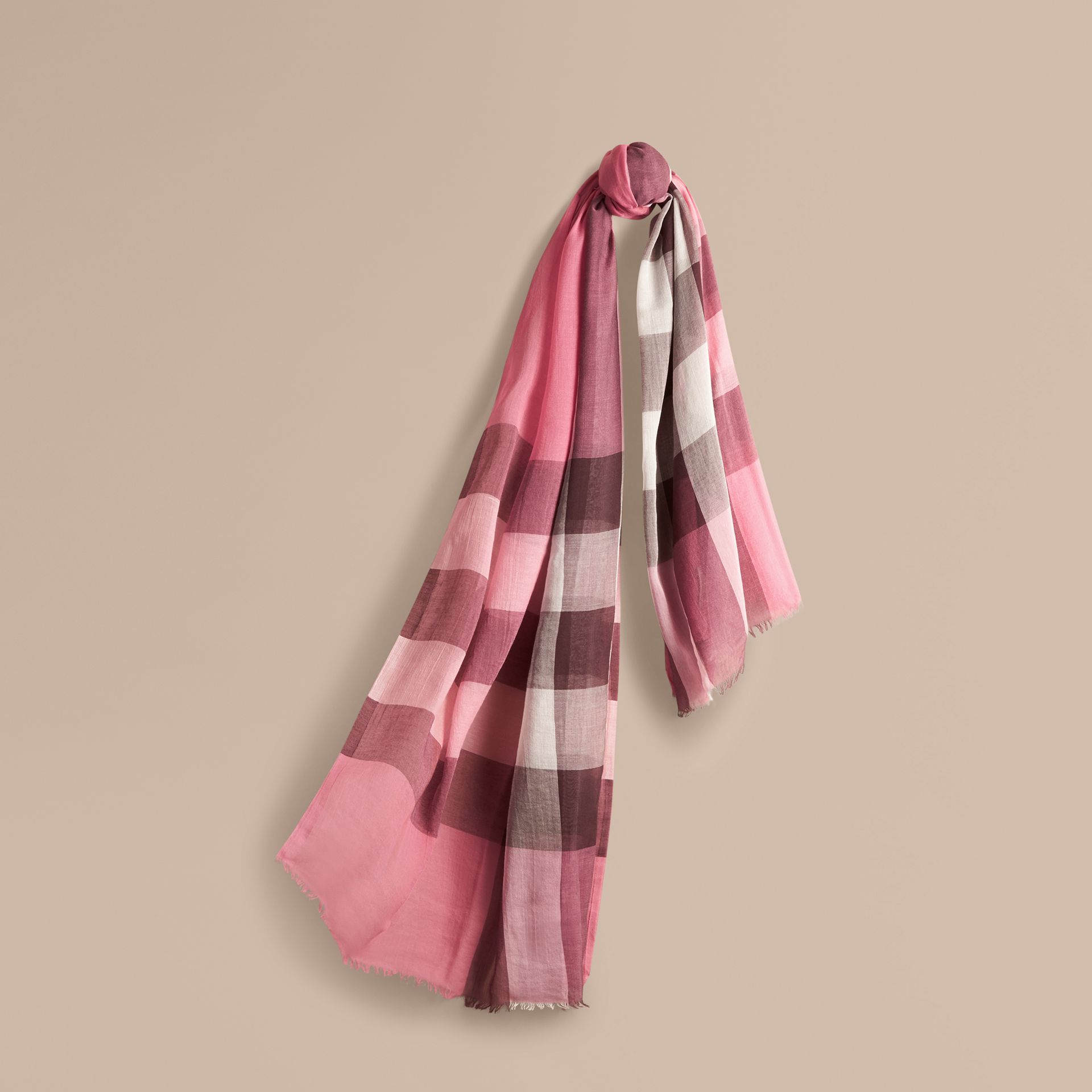 Check Modal Cashmere and Silk Scarf Rose Pink - gallery image 1