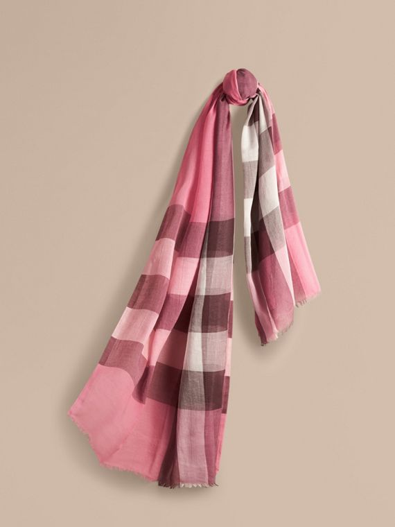 Check Modal Cashmere and Silk Scarf Rose Pink