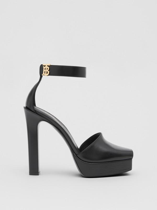 Monogram Motif Leather Peep-toe Sandals in Black - Women | Burberry United Kingdom - cell image 3