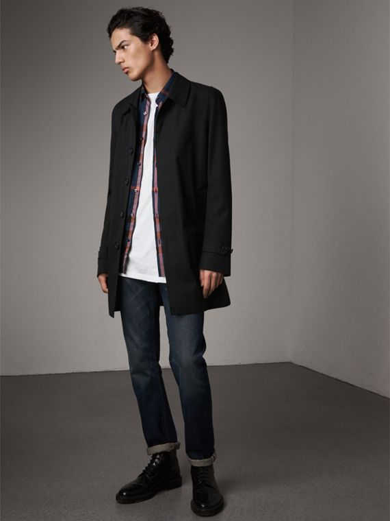 Cotton Gabardine Car Coat in Black - Men | Burberry Singapore