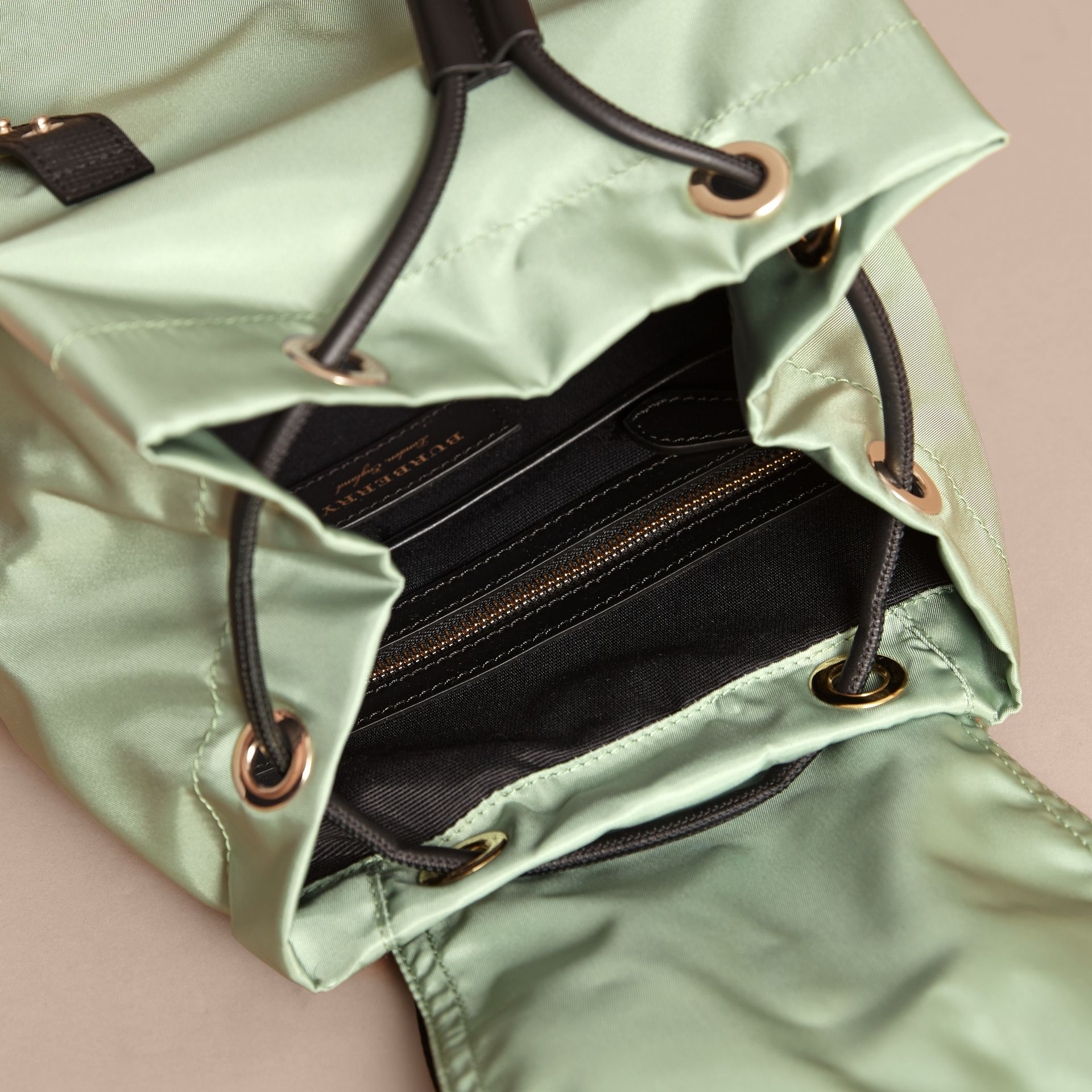 The Medium Rucksack in Technical Nylon and Leather in Apple Green - Women | Burberry Canada - gallery image 5