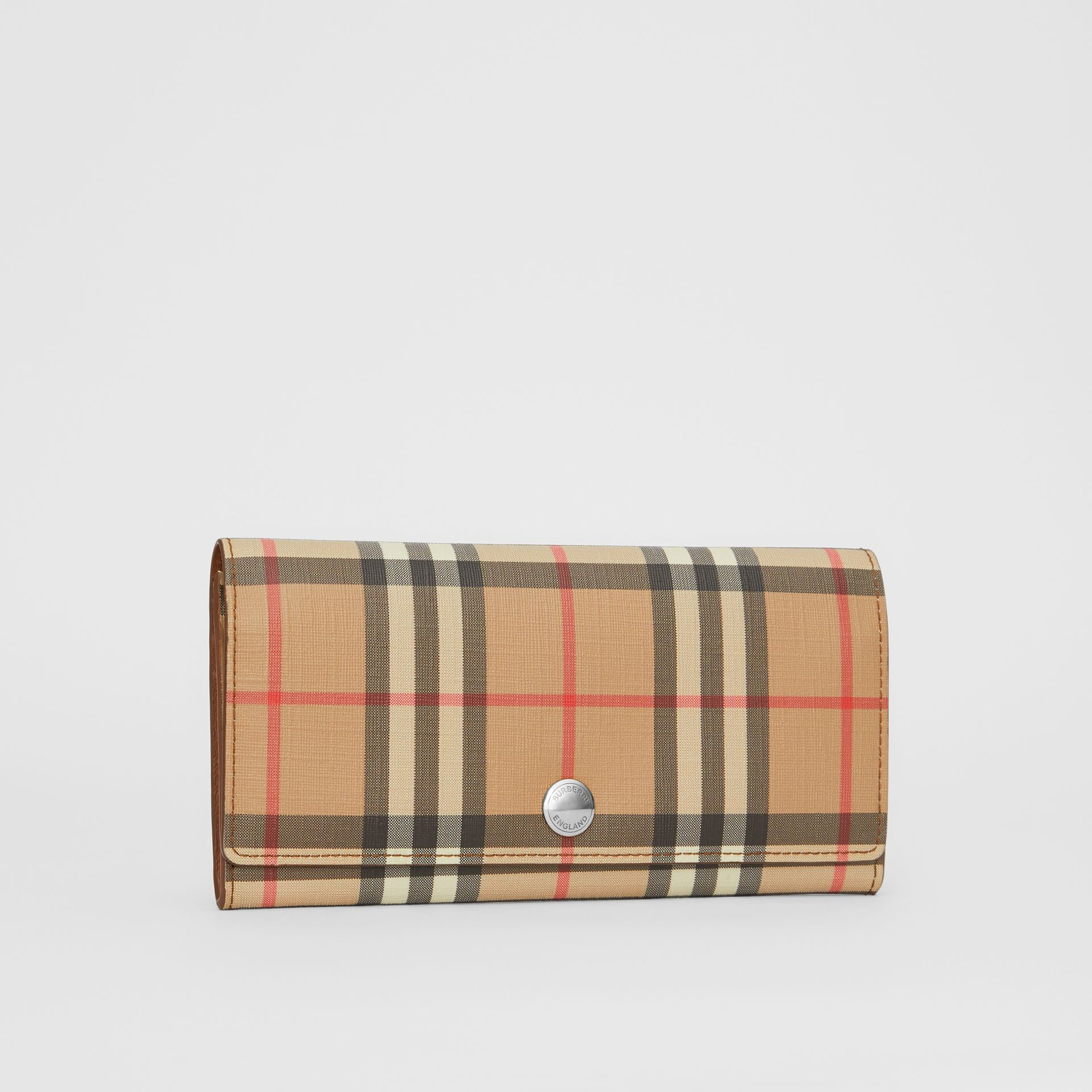 Vintage Check and Leather Continental Wallet in Malt Brown - Women | Burberry - gallery image 4