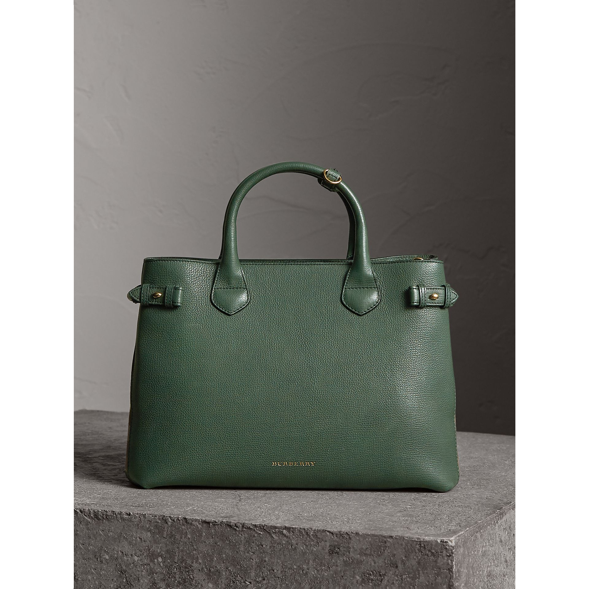 The Medium Banner in Leather and House Check in Dark Bottle Green - Women | Burberry Canada - gallery image 7