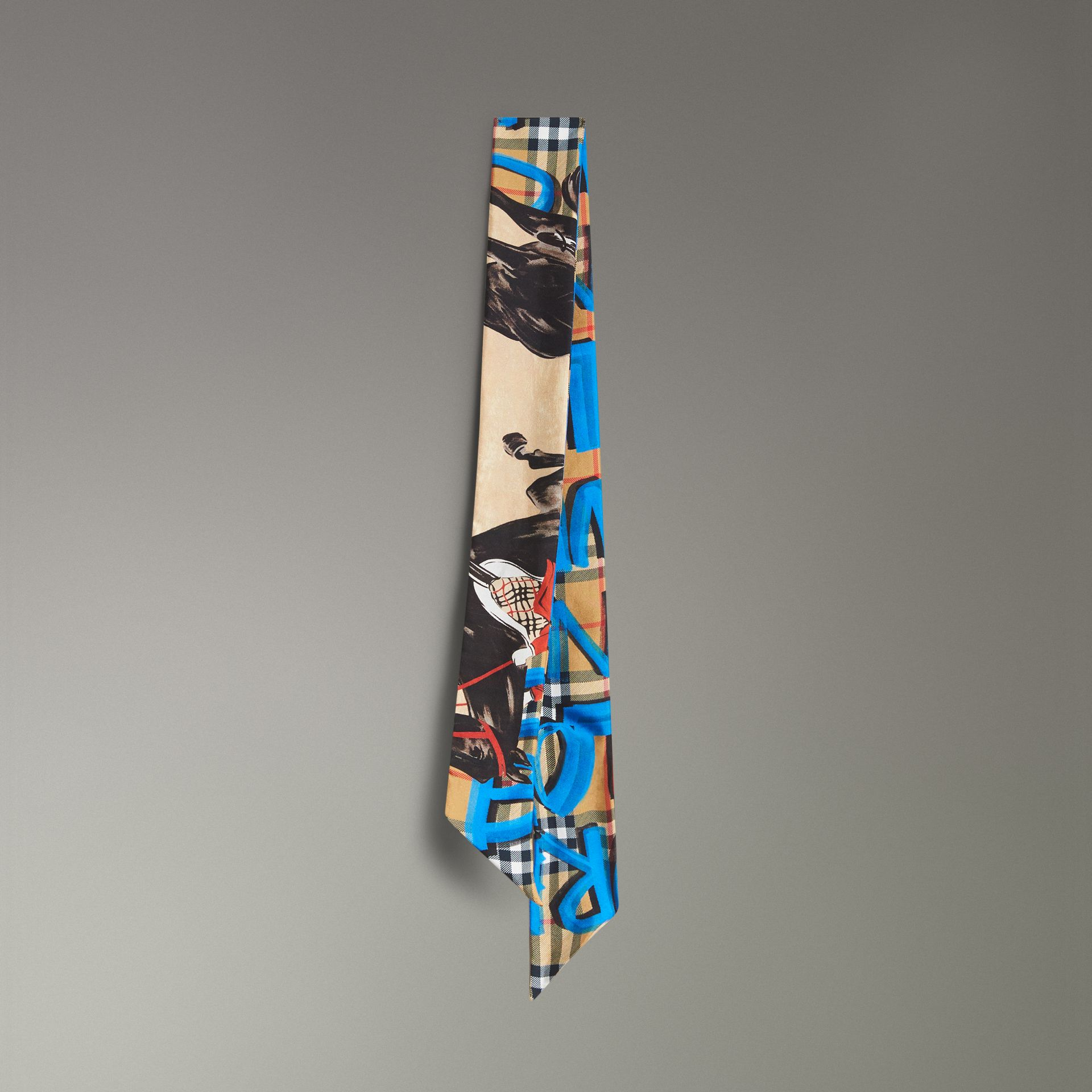 Graffiti Archive Scarf Print Silk Skinny Scarf in Bright Blue - Women | Burberry - gallery image 0