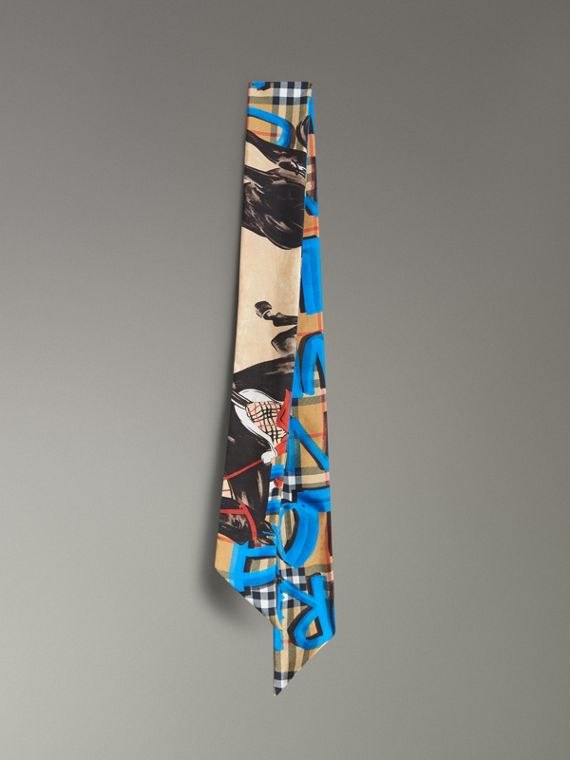 Graffiti Archive Scarf Print Silk Skinny Scarf in Bright Blue