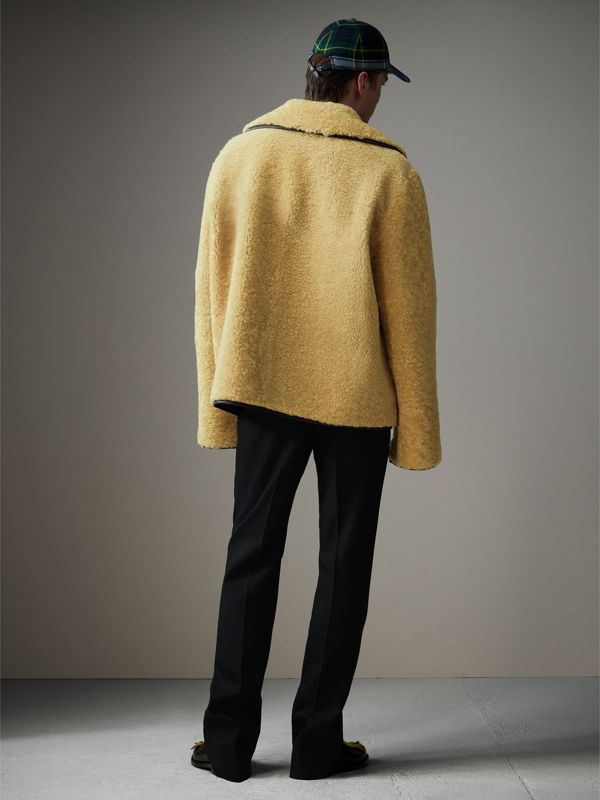 Relaxed Fit Shearling and Lambskin Jacket in Chocolate/light Citrus - Men | Burberry - cell image 2