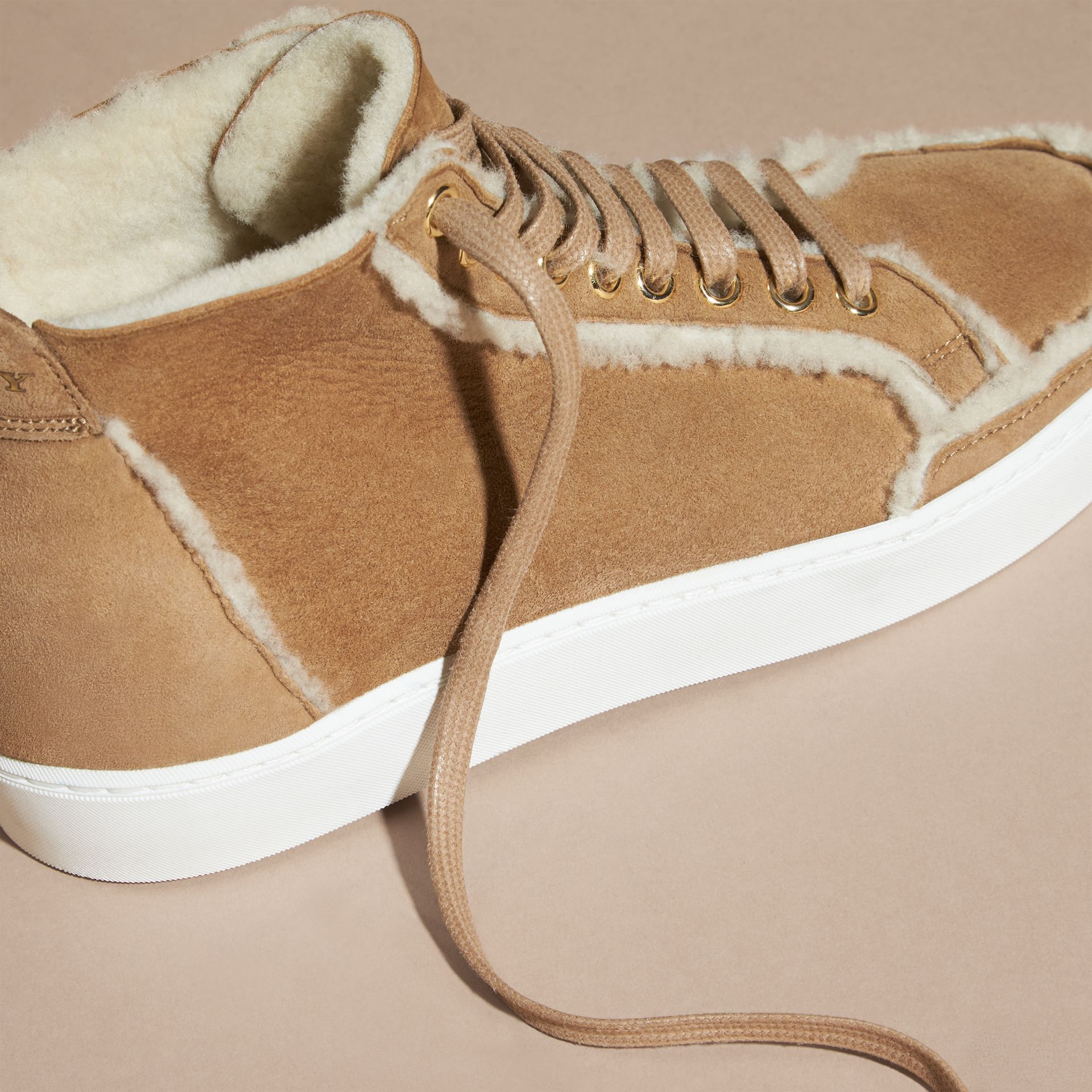 Malt brown Shearling High-top Trainers - gallery image 2