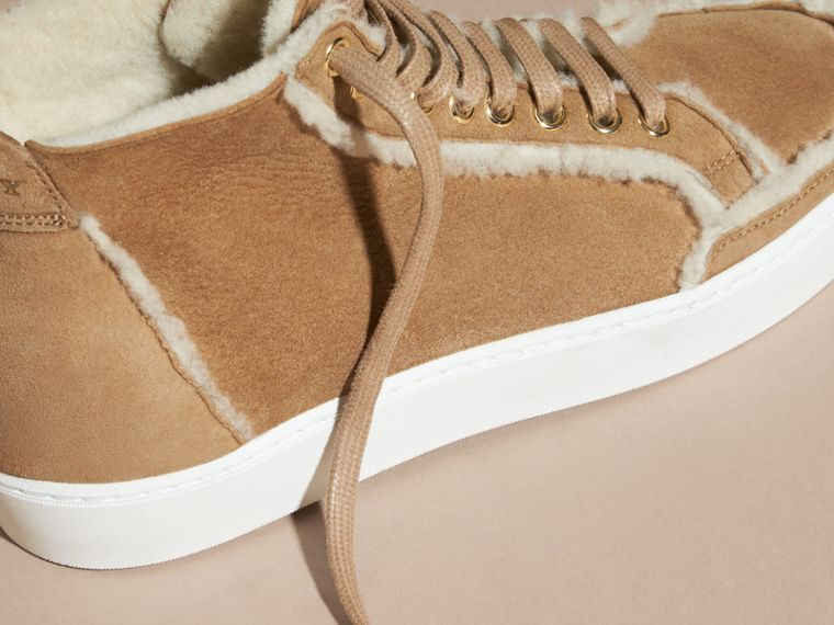 Marrone malto Sneaker alte in shearling - cell image 1