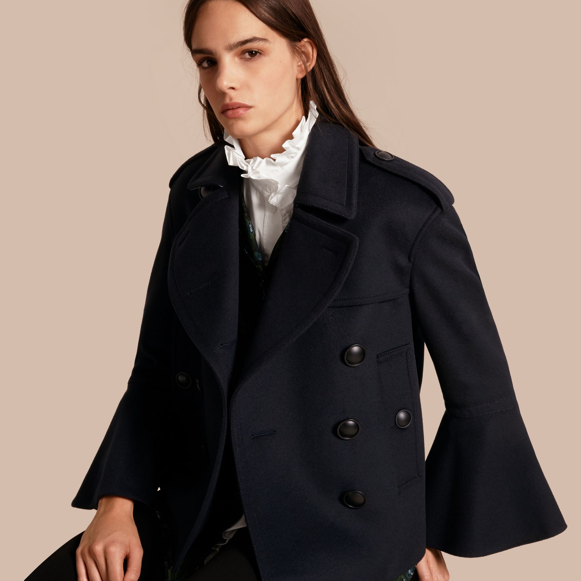 Navy Wool Cashmere Pea Coat with Bell Sleeves - gallery image 1