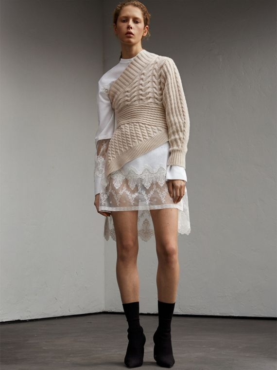 Cable Knit Cashmere One-shoulder Asymmetric Sweater