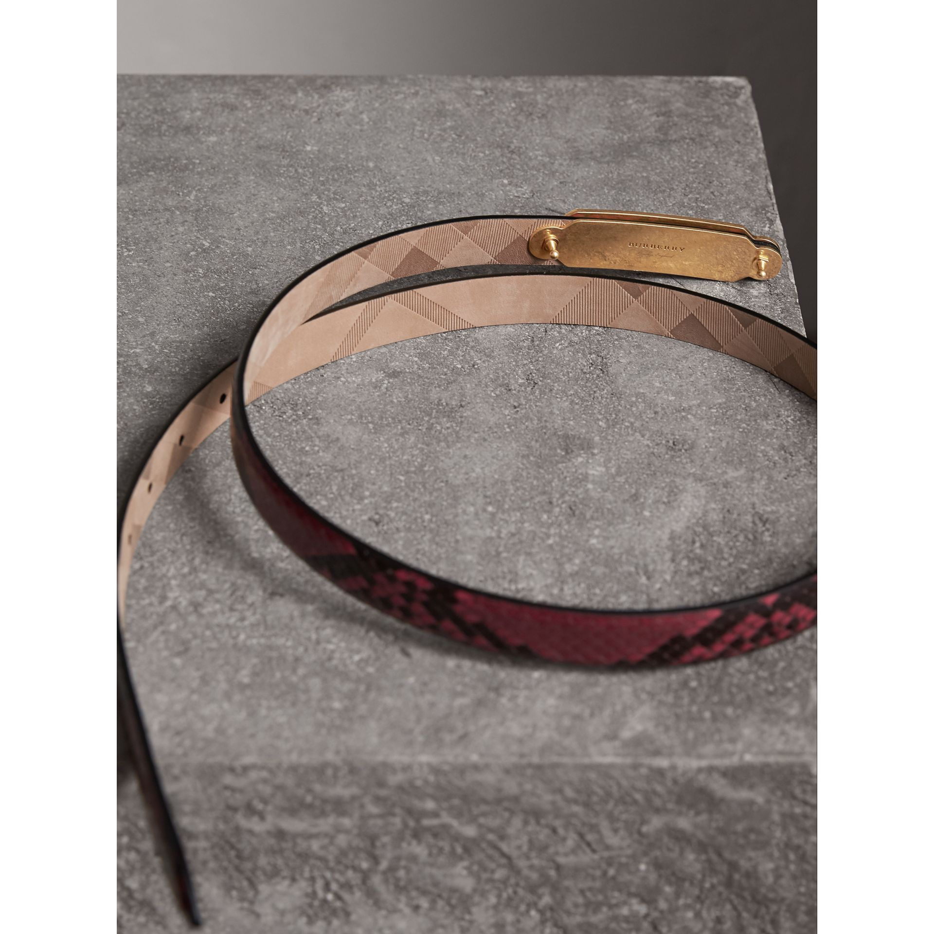 Brass Plaque Buckle Python Belt in Claret Pink - Women | Burberry - gallery image 3