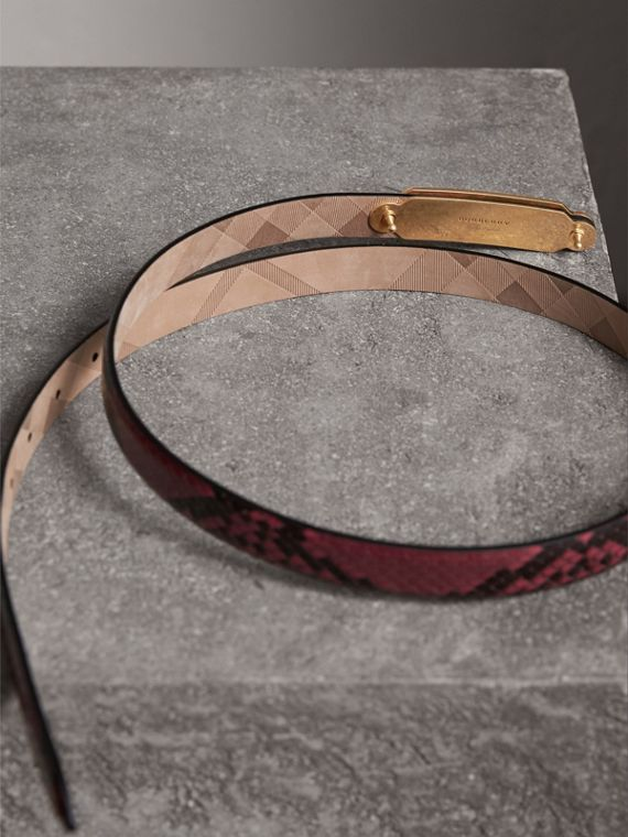 Brass Plaque Buckle Python Belt in Claret Pink - Women | Burberry Singapore - cell image 3