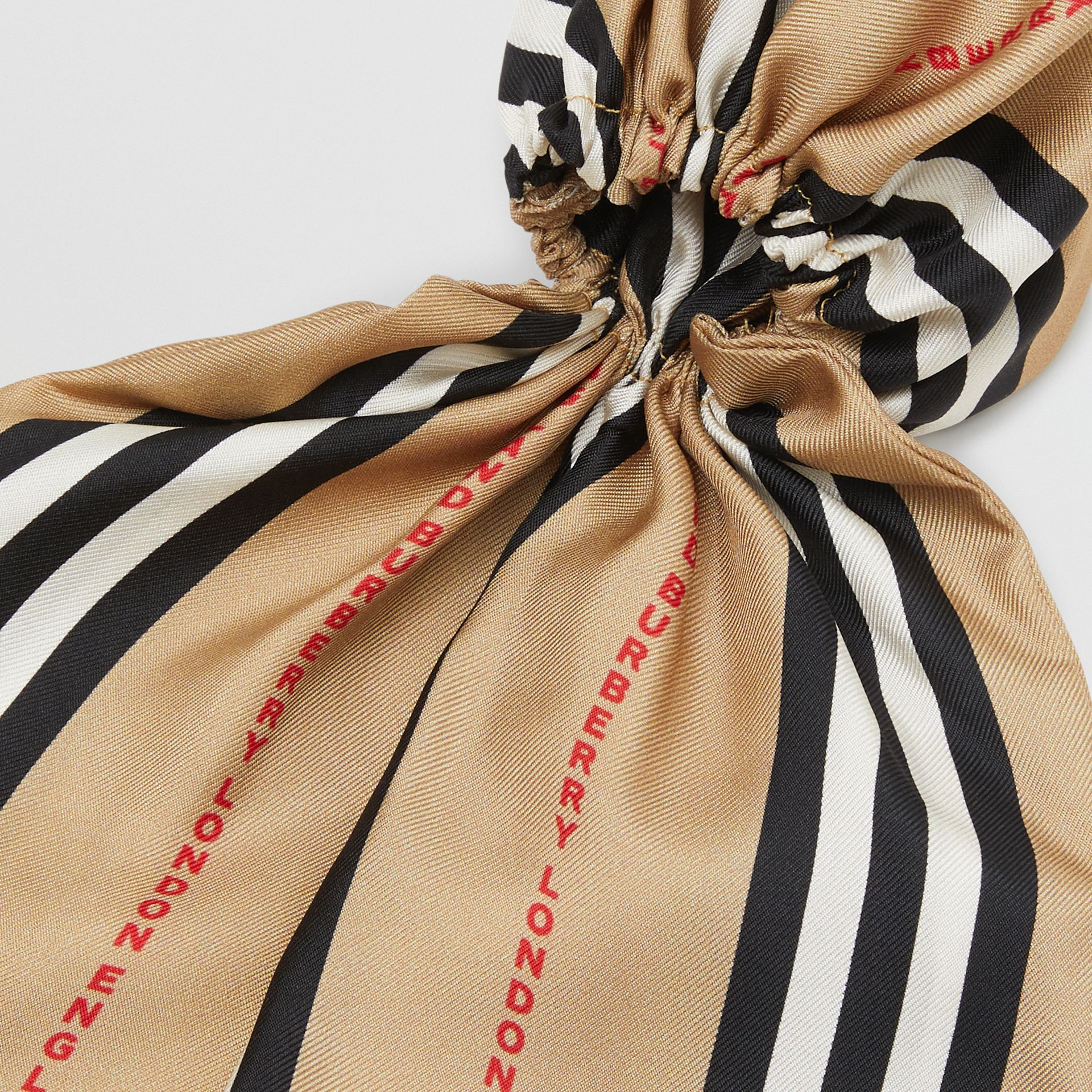 Icon Stripe Print Silk Hair Scarf in Archive Beige - Women | Burberry United States - gallery image 1