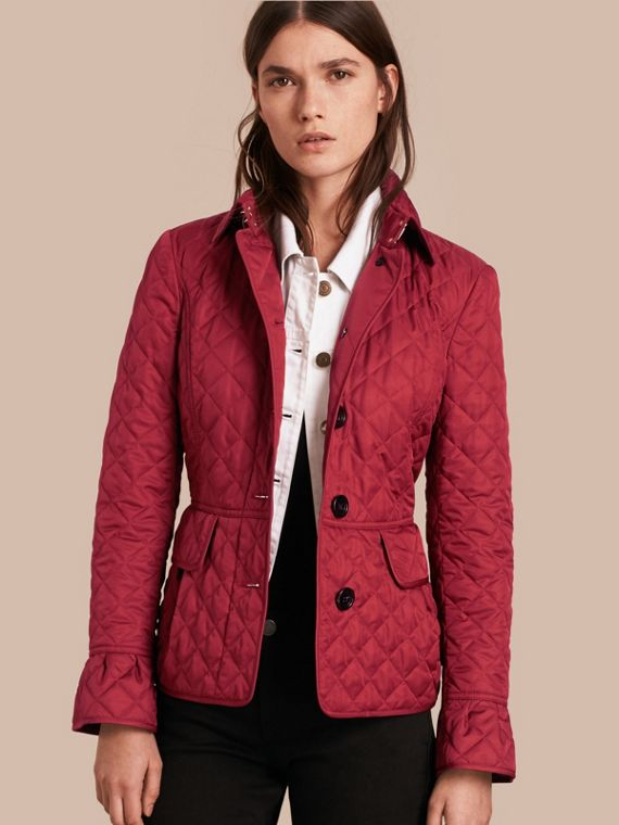 Diamond Quilted Peplum Jacket Dark Crimson
