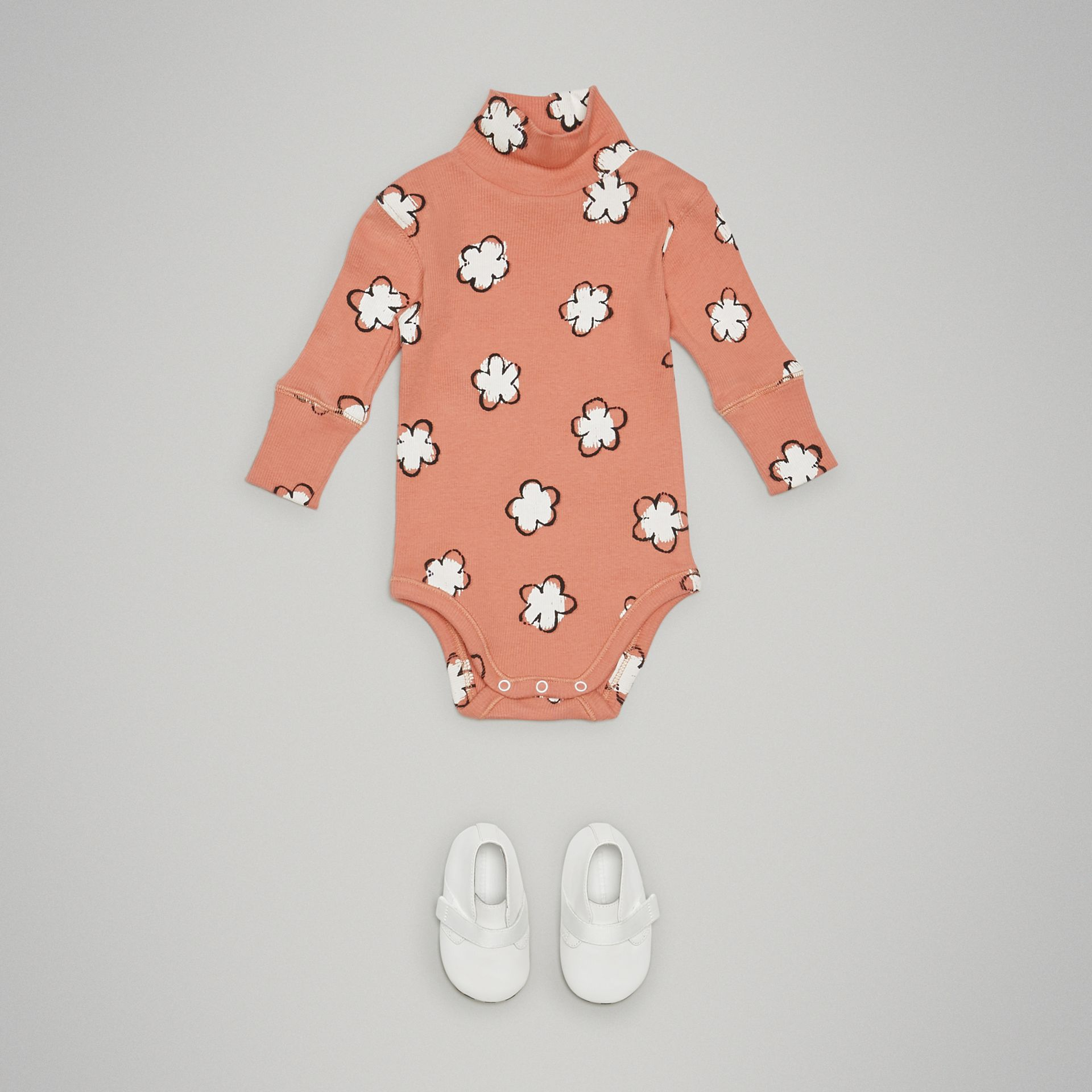 Flower Print Cotton Turtleneck Bodysuit in Dusty Pink - Children | Burberry - gallery image 2