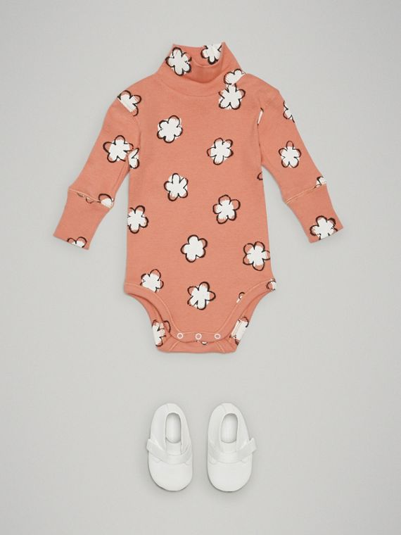 Flower Print Cotton Turtleneck Bodysuit in Dusty Pink | Burberry Australia - cell image 2