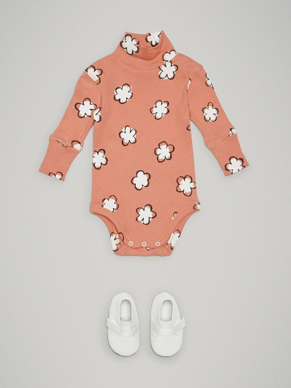 Flower Print Cotton Turtleneck Bodysuit in Dusty Pink - Children | Burberry - cell image 2