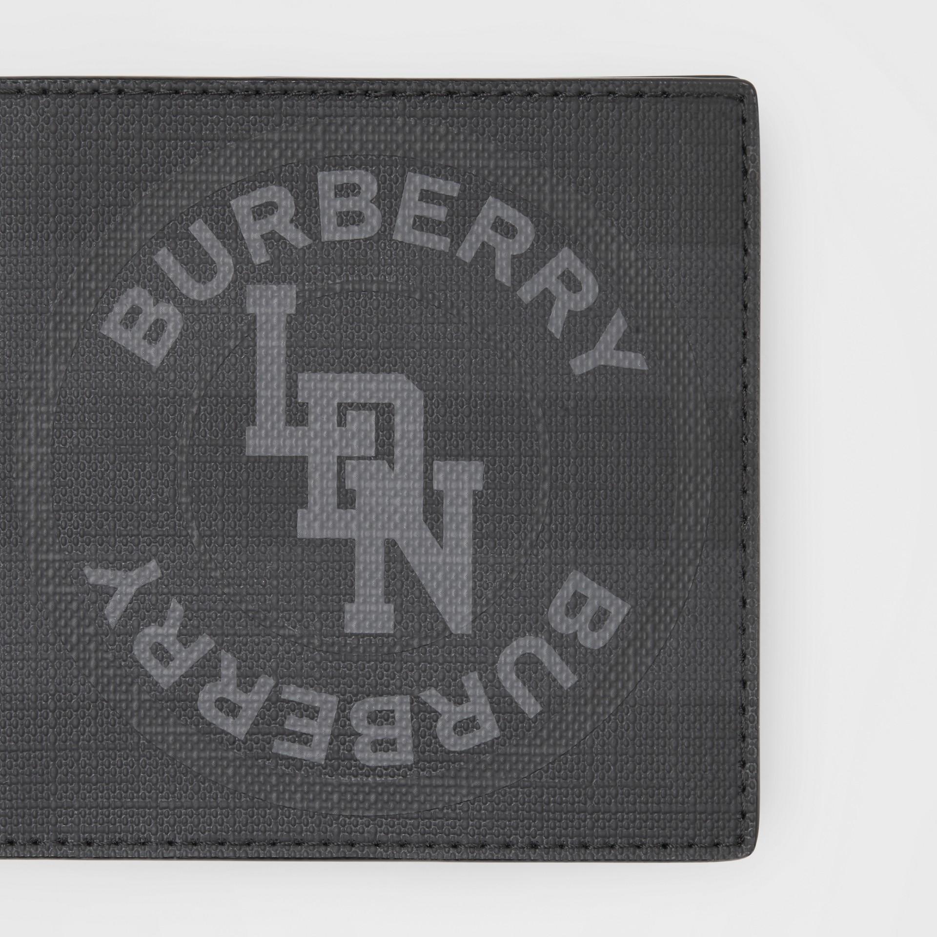 Logo Graphic London Check International Bifold Wallet in Dark Charcoal - Men | Burberry United Kingdom - gallery image 1